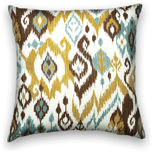 Gold Brown Throw Pillows : Gold Brown Ikat Throw - Traditional - Decorative Pillows - by Cody & Cooper Designs