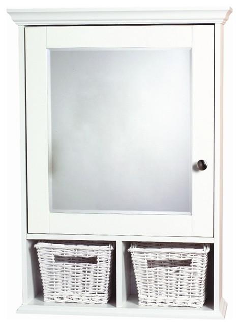White Decorative Medicine Cabinet w Baskets