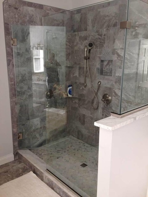 Classic Bardiglietto Contemporary Bathroom Chicago