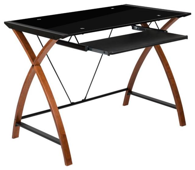 Flash Furniture Glass Top Computer Desk, Flash Furniture Black Glass Computer Desk With 3 Drawer Pedestal