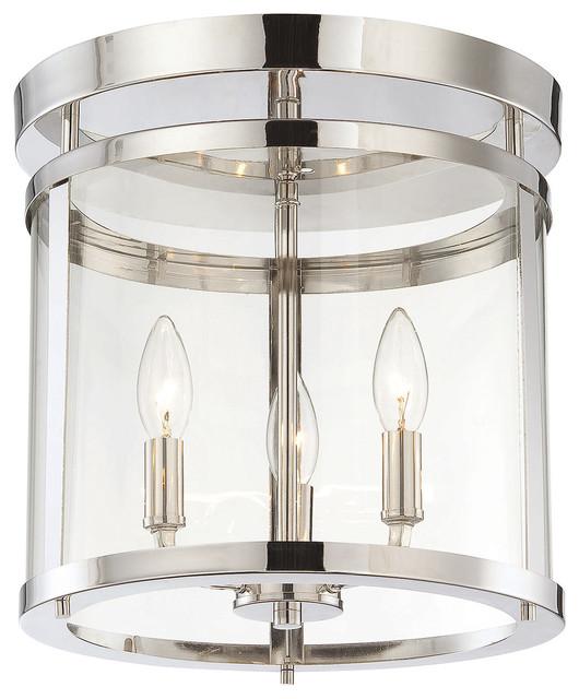 3-Light Clear Glass Polished Nickel Drum Shade Semi-Flush Mount.