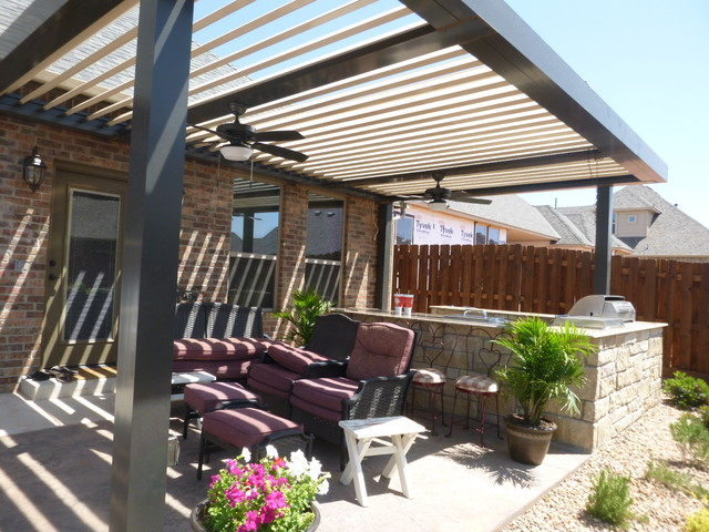 Custom Louvered Pergola In Edmond Modern Oklahoma City