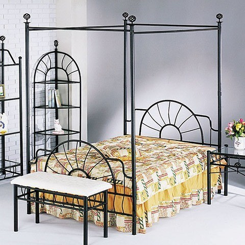Sunburst Full Headboard And Footboard And Canopy, Rail Not Included, Sandy Black.