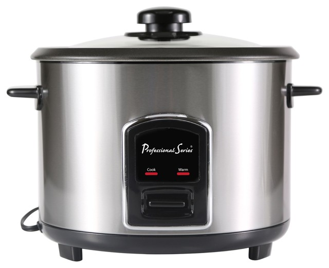 Rice Cooker, 12-Cup Cooked, Stainless Steel.