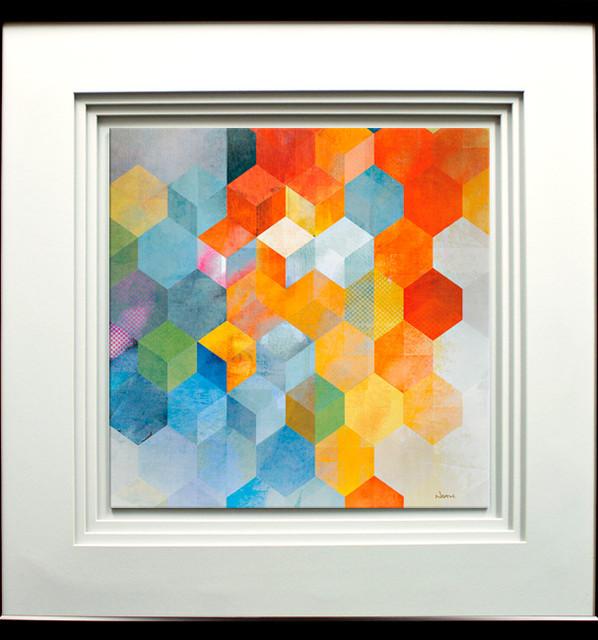 """""""cubitz I"""" Artwork By Noah, With Quad Mat, Black Molding, 29""""x29""""."""