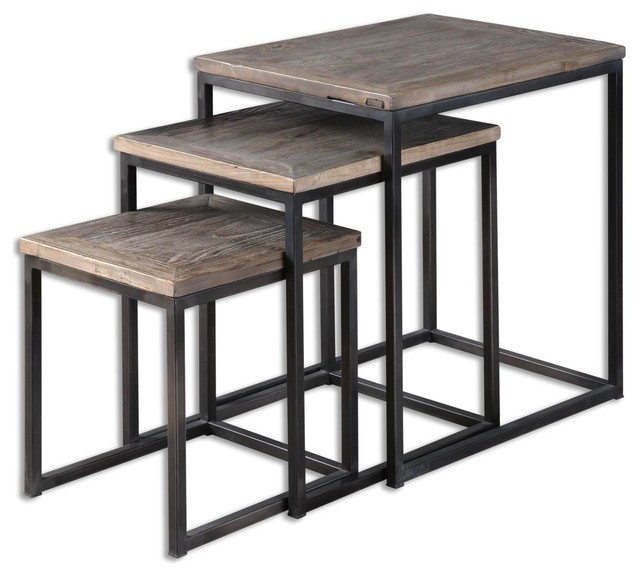 Uttermost 24460 Bomani Wood Nesting Tables Set3 Industrial Coffee Table Sets