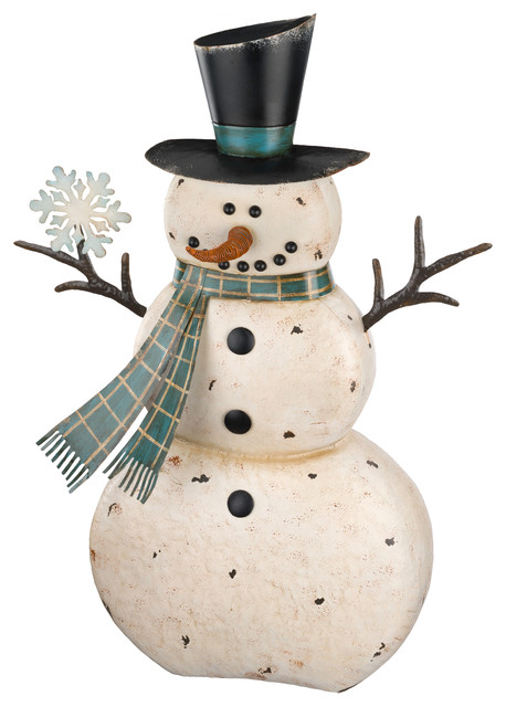 Rustic Holiday Snowman Statue, Blue, White, 36
