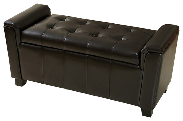 Gdfstudio Bosworth Tufted Leather Armed Storage Ottoman