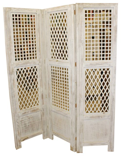 Consigned Antique White Wooden Screen Room Divider 3 Panel Carved Home Accents
