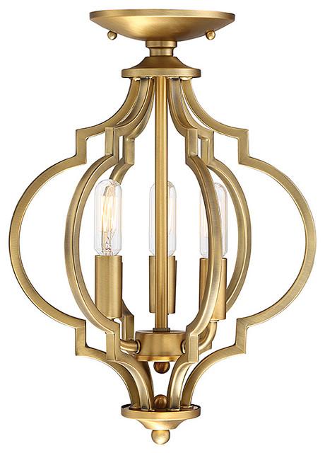 3-Light Semi Flush, Natural Brass.