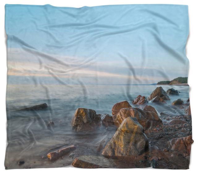 Cape Breton Beach Nova Scotia Canada Modern Seascape Throw
