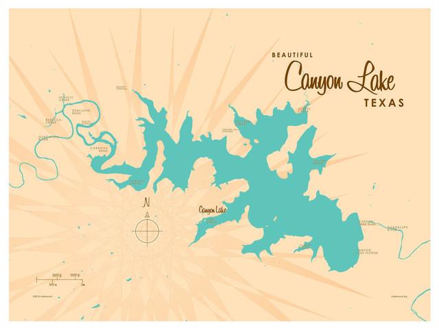Lakebound Canyon Lake Texas Map Art Print, 9