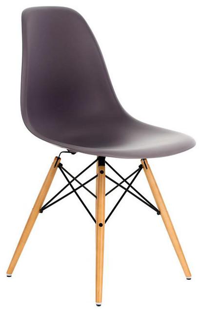 DSW Gray Mid Century Modern Plastic Dining Shell Chair, Wood Eiffel Legs,  Gray midcentury