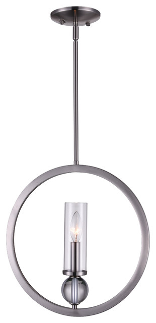 1 Light Chandelier With Satin Nickel Finish.