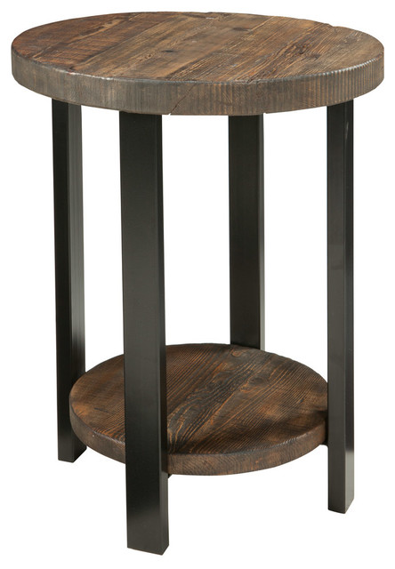 Pomona 20in Solid Wood Round End Table Rustic Natural
