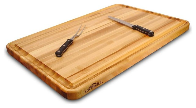 Reversible Cutting Board With Trench In Wood Contemporary Boards