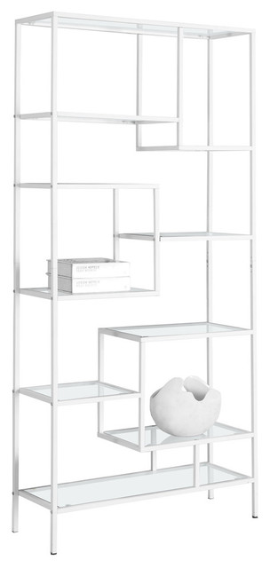 Sunland Metal Bookcase With Tempered Clear Glass, White.