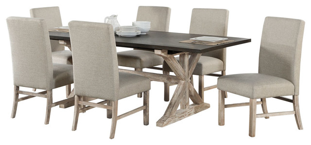 Ellington 7-Piece Dining Set With Expandable Trestle Table and Fabric Chairs