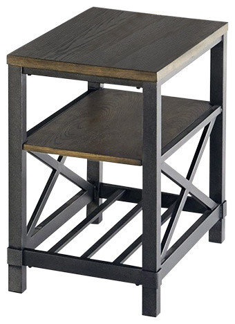 Progressive Furniture Oak Hill Chairside Table  Industrial Side Tables And End