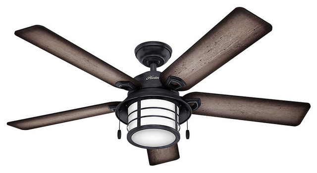 "Hunter 54"" Key Biscayne Weathered Zinc Ceiling Fan With Light."