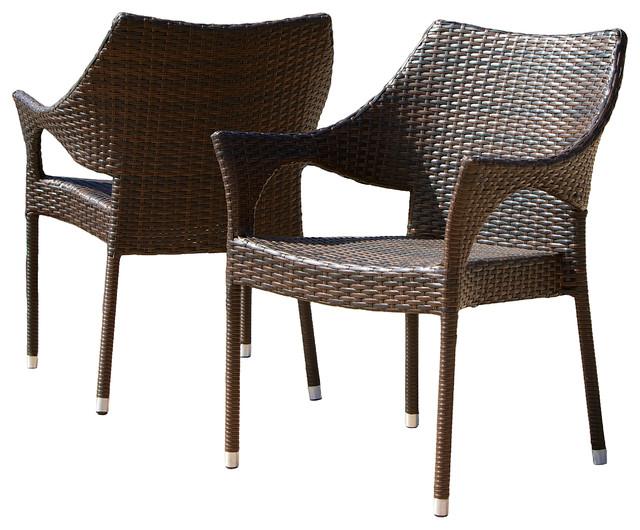 Del Mar Outdoor Brown Wicker Chairs, Set of 2 - Del Mar Outdoor Brown Wicker Chairs, Set Of 2 - Tropical - Outdoor