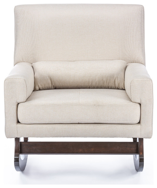 Astonishing Imperium Linen Contemporary Rocking Chair With Pillow Light Beige Bralicious Painted Fabric Chair Ideas Braliciousco