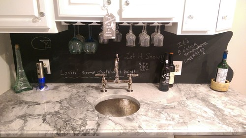 Chalkboard Paint Backsplash Exterior making an oak wet bar white and adding chalkboard backsplash