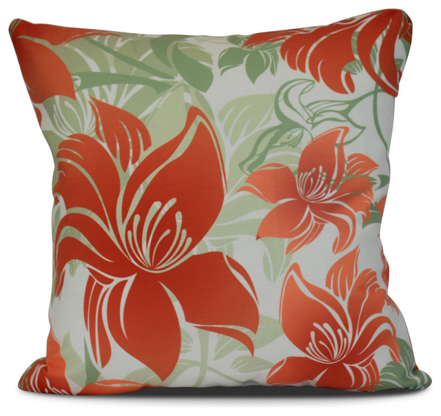 16x16 Quot Tree Mallow Floral Print Outdoor Pillow Orange