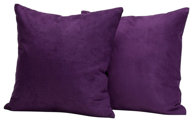Microsuede Deco Pillow - 18x18 - Feather And Down Filled Pillows - Pack Of 2, Pu.