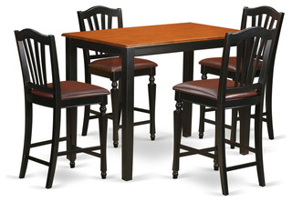 Alexa Counter-Height Dining Table Set, Black, 5 Pieces, Faux Leather