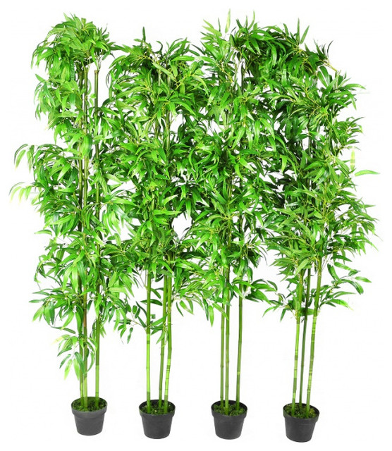 Set Of 4 Bamboo Artificial Home Decor 75 Asian Artificial