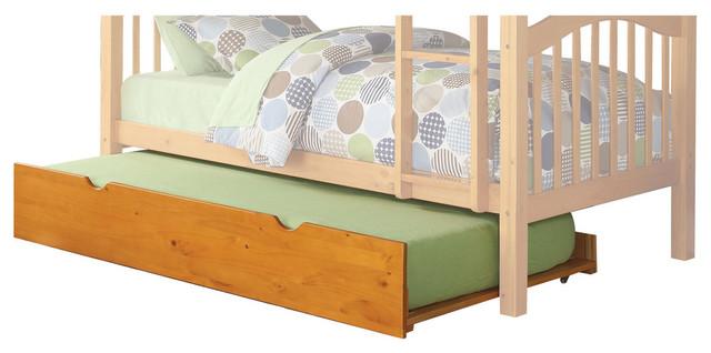 Heartland Bunk Bed, Honey Oak, Trundle, Twin Over Twin.