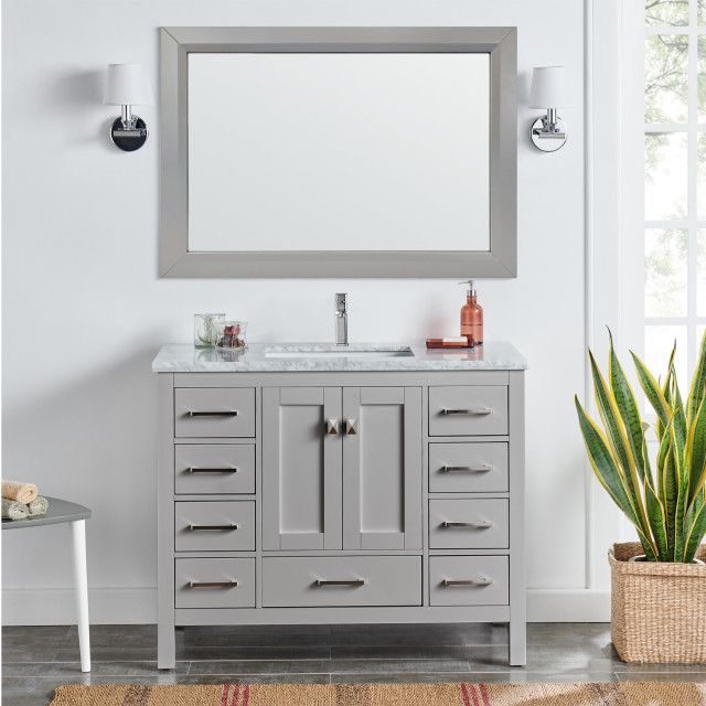 Eviva London Bathroom Vanity, Gray, 42""