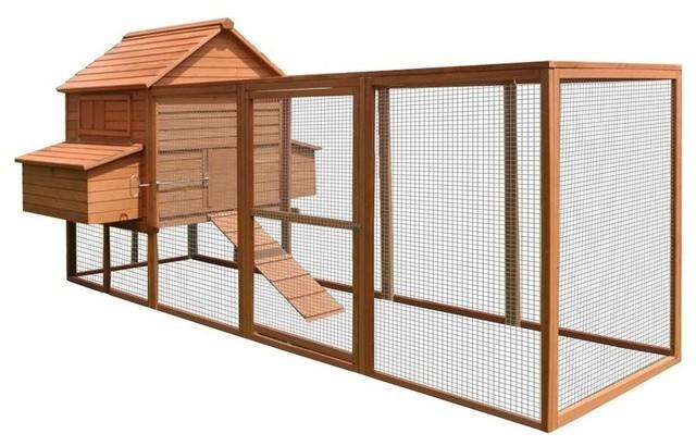 "ALEKO Pet Poultry Hutch/Coop Wood, 143.7""x68.5""x66.5"", Red"