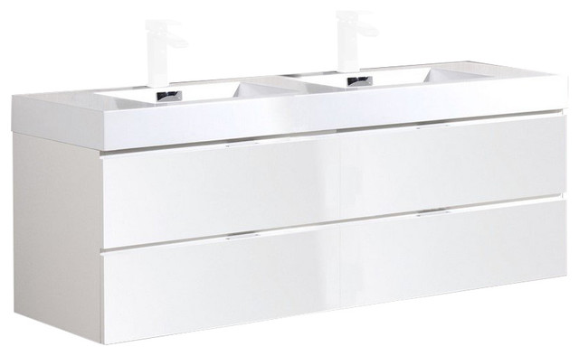 "Kubebath Bliss 72"" High Gloss White Wall Hung Bathroom Vanity."
