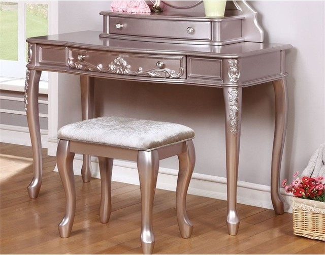 Coaster Vanity Desk, Metallic Lilac