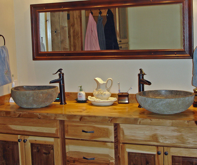 Bathroom Designs Vessel Sinks river rock vessel sinks - rustic - boise -impact imports