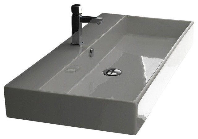 Ada Ceramic Wall Mounted Sink, Single Hole, 35.4x17.7, Unlimited 90.01.