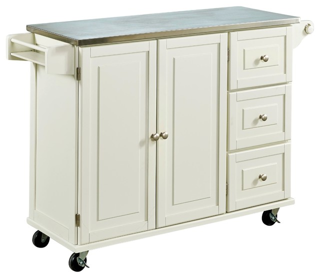 Home Styles Furniture   Liberty Kitchen Cart With Stainless Steel Top,  White   Kitchen Islands