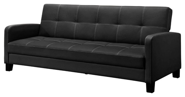 black faux leather sofa bed sleeper great for apartments
