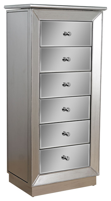 Mia Jewelry Armoire, Silver Metallic - Jewelry Armoires - by Hives & Honey