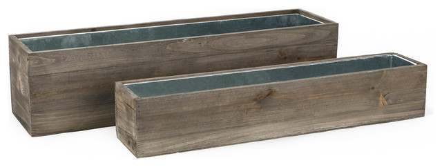 Natural Wood Window Box Planters With Zinc Liner Set Of 2