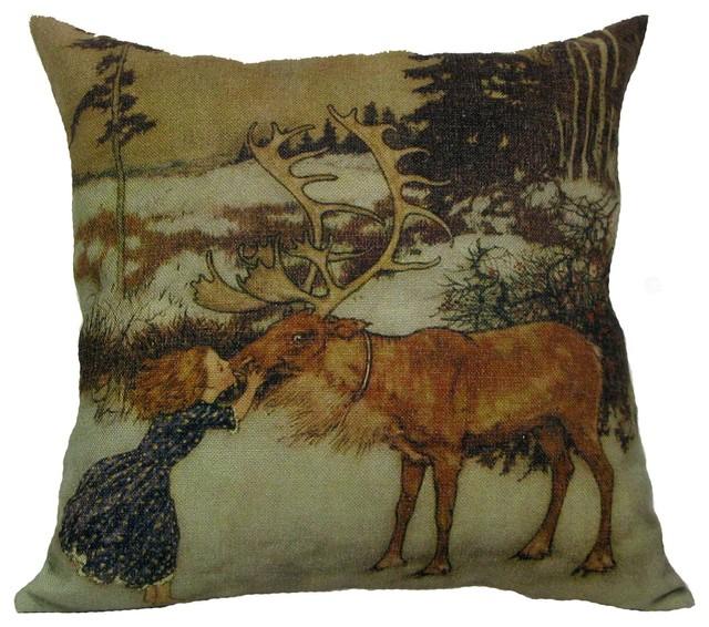 Golden Hill Studio - Gerta and the Reindeer Throw Pillow Case & Reviews Houzz