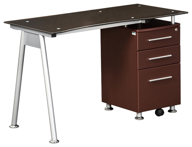 Techni Mobili Glass Top Desk With Built-in File Cabinet, Chocolate ...