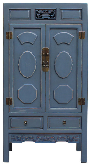 Chinese Distressed Gray Blue Lacquer Tall Armoire Storage
