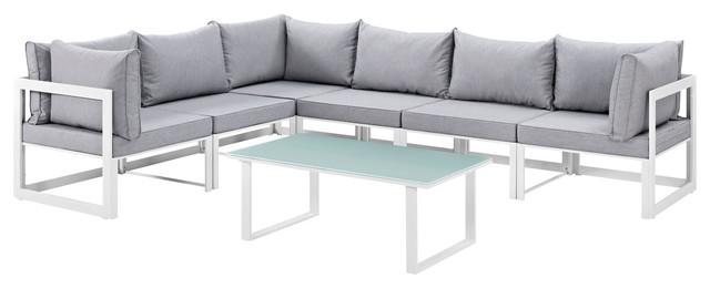 Fortuna 7-Piece Outdoor Aluminum Sectional Sofa Set, White Gray