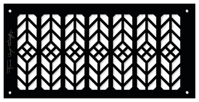 "Frank Lloyd Wright Collection 6""x12"" Alumnium Floral Grille, Black Matte."