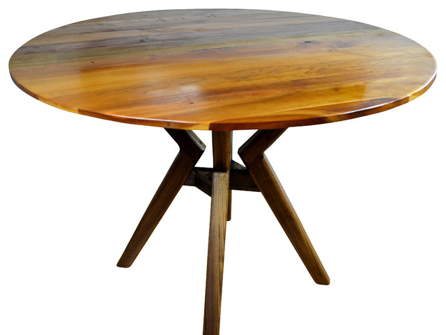 40 Round Dining Table Walnut Stand Midcentury Dining Tables