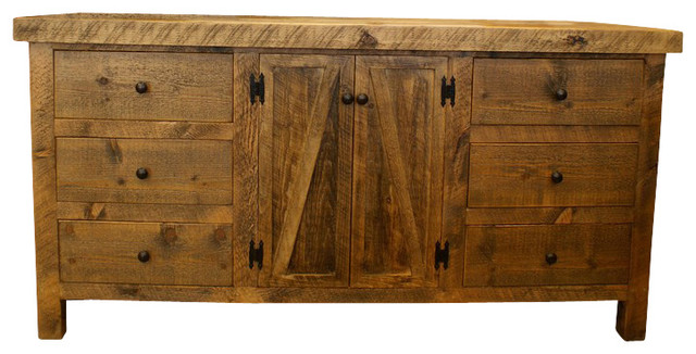 Alpine Heirloom Rough Cut Wood 9 Drawer Dresser Rustic