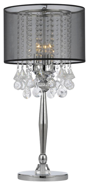 Etonnant Silver Mist 3 Light Chrome Crystal Table Lamp With Black Shade